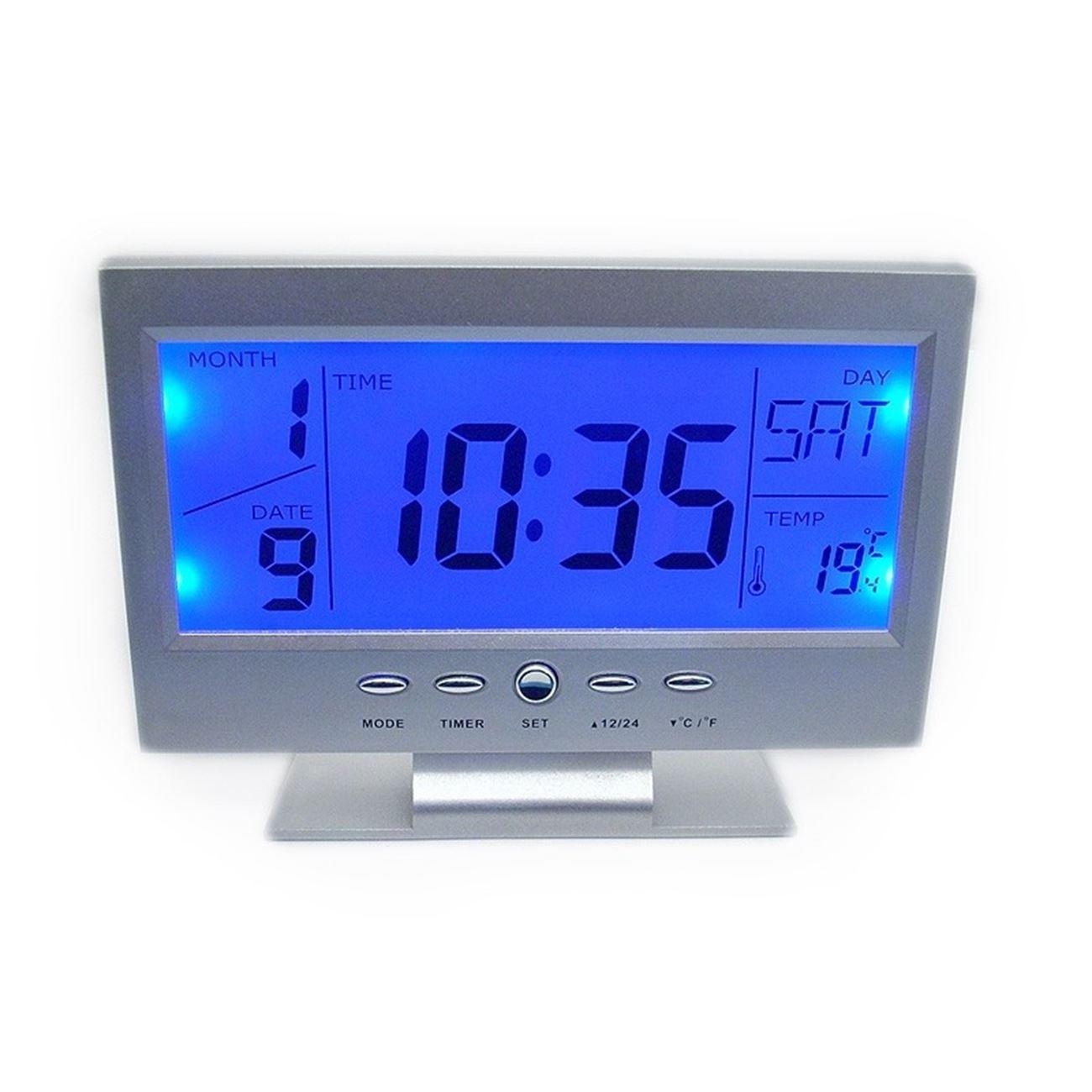 Ψηφιακό ρολόι - θερμόμετρο ανάβει αυτόματα η οθόνη όταν ανίχνευση ήχο ή  δόνηση   Ρολόγια επιτραπέζια  106380c847e