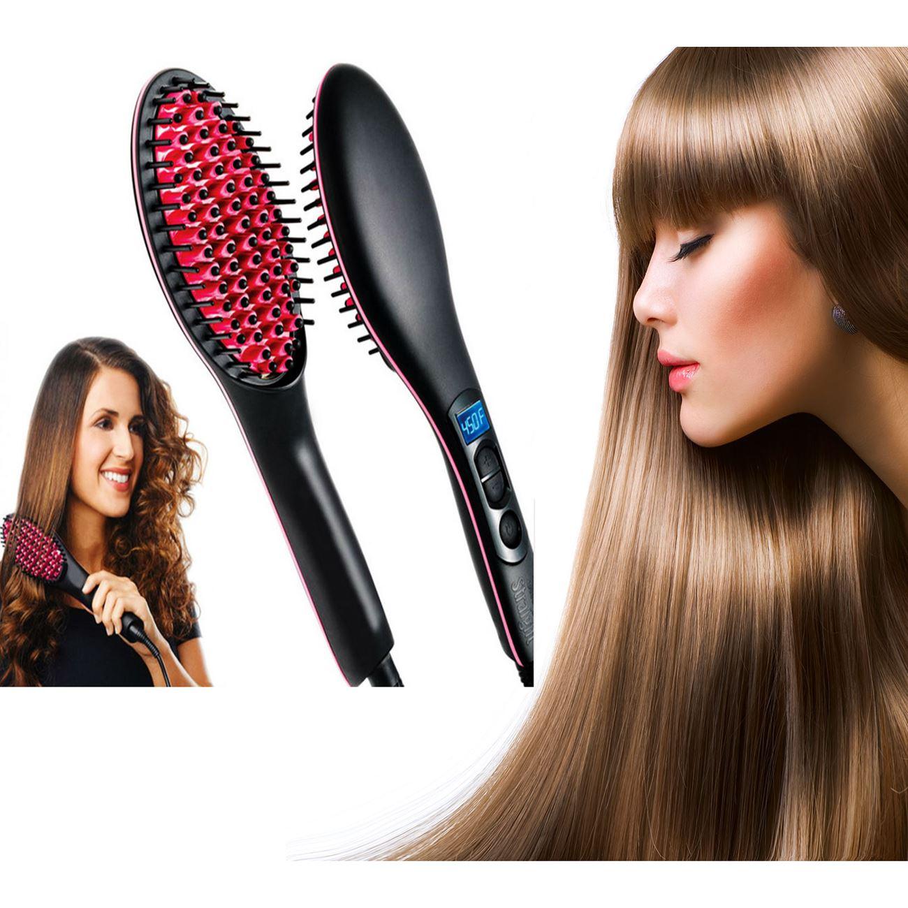 Κεραμική θερμαινόμενη βούρτσα ισιώματος μαλλιών με ψηφιακή ρύθμιση  θερμοκρασίας   Σεσουάρ-Σίδερα-Ψαλίδια μαλλιών  5bc2ff36d35