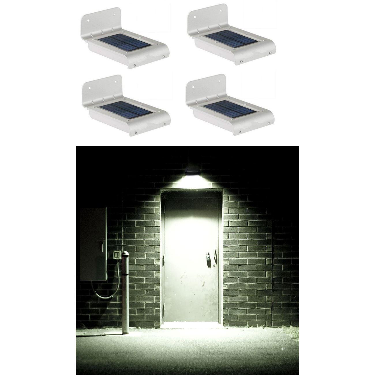Ηλιακά φωτιστικά αλουμινίου εξωτερικού χώρου με 16 Smd LED ανάβουν όταν  ανιχνεύσουν κίνηση με απίστευτη φωτεινότητα (Σετ 4 τεμαχίων)   Ηλιακά  φωτιστικά 957e0b8251c