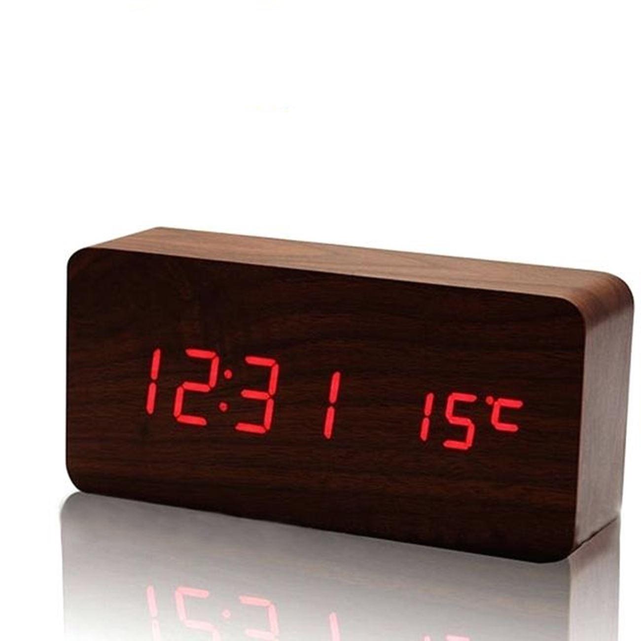 Ξύλινο επιτραπέζιο ρολόι με οθόνη LED - Θερμόμετρο - Ξυπνητήρι - Ημερολόγιο    Ρολόγια επιτραπέζια  169e996b9d7